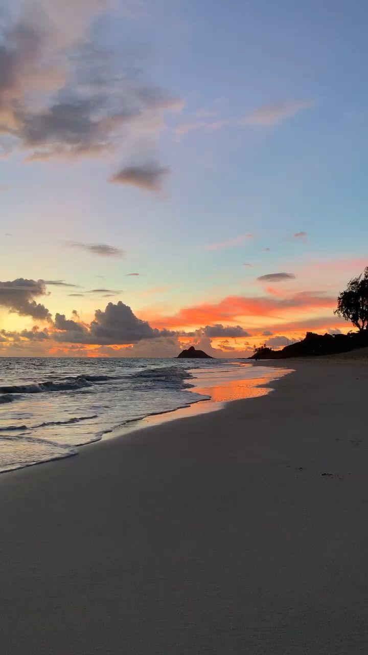 Colorful #Hawaii #sunrise on #Kailua #beach #sunset #aesthetic video by Fiona Weisenberg #Hawaiisunrise #Oahu #tropical