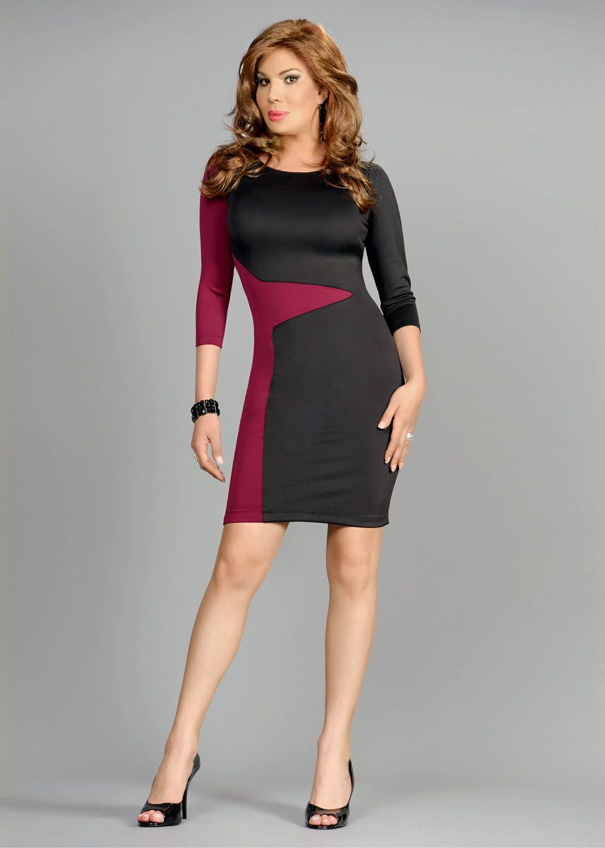 c240482e40 Slimming Color Block Bodycon Dress - Little Black Dress for Crossdresser    Trans Women