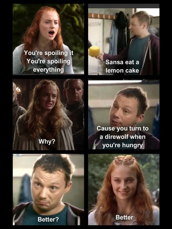 Sansa Stark Memes : sansa, stark, memes, Sansa, Stark,, Snickers,, Spoiling, Lemon, Cake,, Direwolf,, Thrones,, Funny,, Stark, Memes,, Twisted, Humor,, Memes