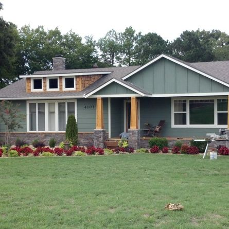 Remodel 70 S Ranch To Craftsman Before And After This Is Actually In Rogers I Want To Drive Arou Ranch House Remodel Exterior Remodel Home Exterior Makeover