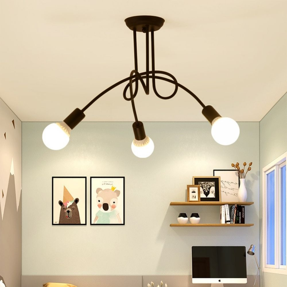 Modern Industrial Style Loft Chandelier With 3 Lights Lamps Zone
