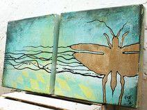 """Originalmalerei """"Goldenes Insekt"""" 2er-Set Leinwand"""
