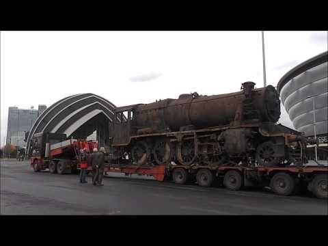 Turkish 8F Locomotive 45170 returns to Glasgow on Low Loader 13th November 2014