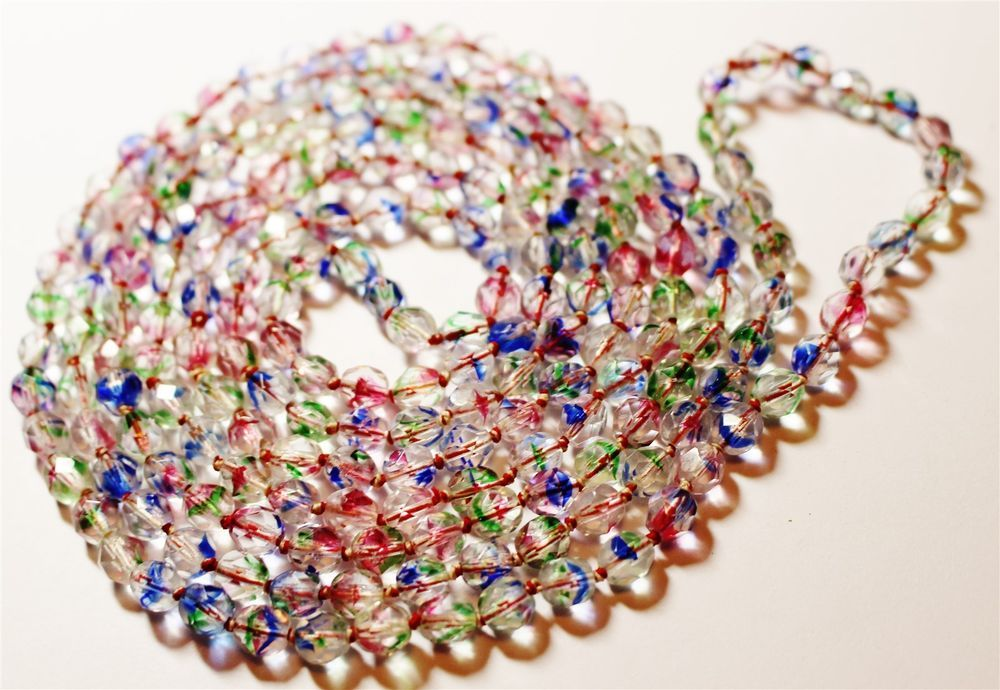Vintage in Seattle Auction L#229 long colorful crystal beaded necklace