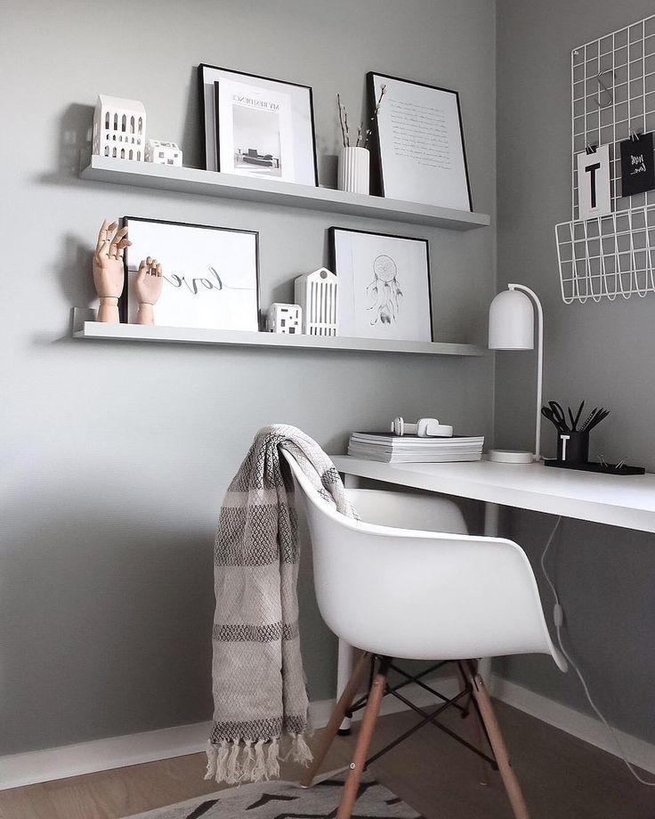 Arbeitsbereich in hellgrau - Zimmer ideen #wohnzimmerdeko