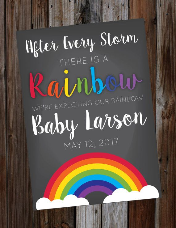 Printable Bright Rainbow Pregnancy Announcement Pregnant After A