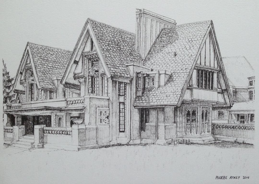 An Old Commission Piece Nathan G Moore House By Frank Lloyd Wright Art Drawing Pen Sketch Landscape Sketch Building Illustration Architecture Sketch