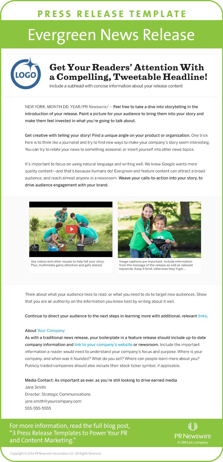 press release template evergreen news release for more templates
