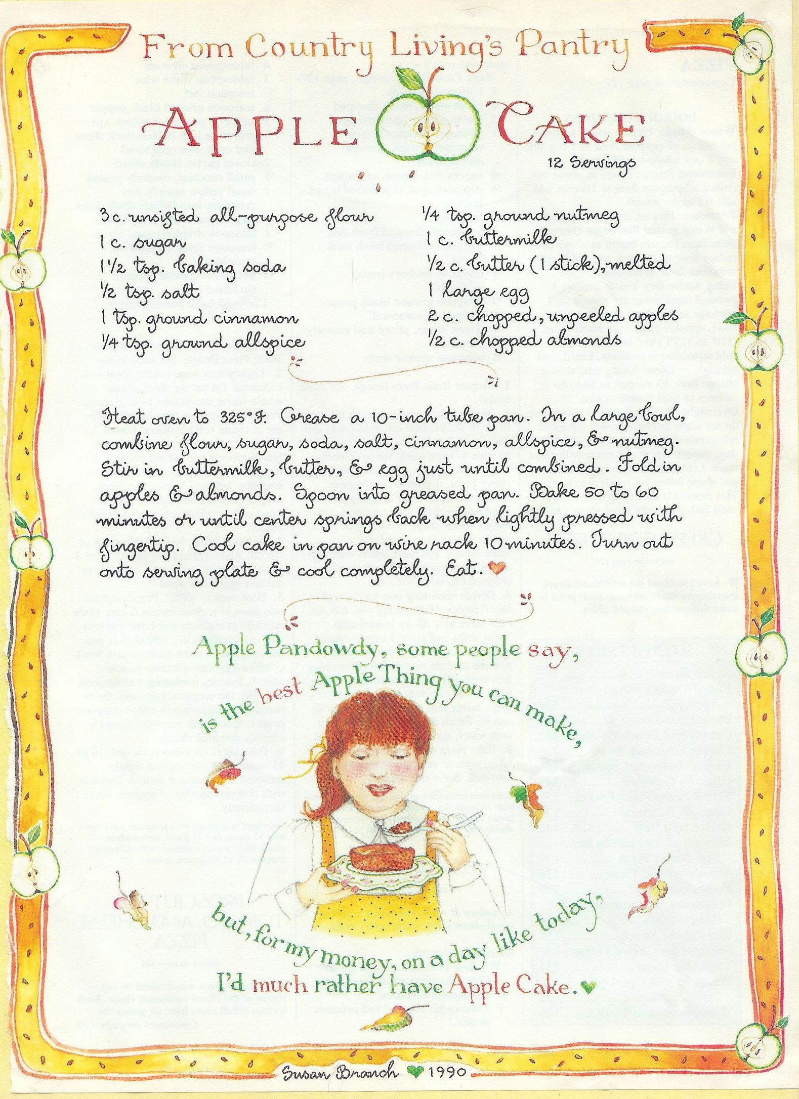 Apple cake susan branch for country living magazine cake for Country living magazine recipes