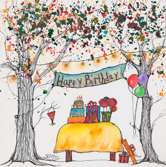 Reserved For Amitachandra Happy Birthday Tree Original Watercolor And Ink Painting 8x8 Inches With Glitz Birthday Tree Happy Birthday Greetings Happy Birthday Cards