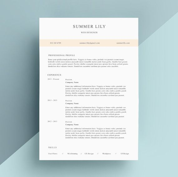 Simple Resume Template, Cover Letter, CV Template, Professional
