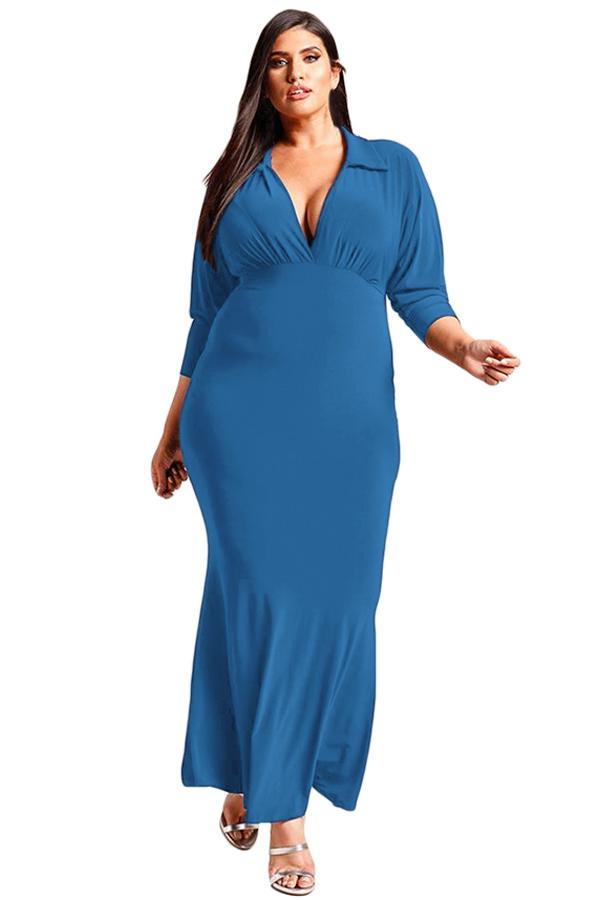 d13c08bd5 Sexy Navy Blue Plus Size Collared Deep V Maxi Dress Available in  XL