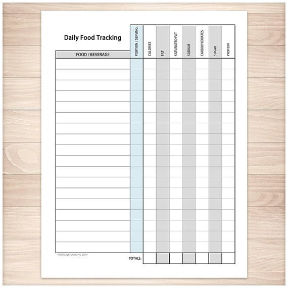 printable food tracking sheet healthy eating daily calorie fat