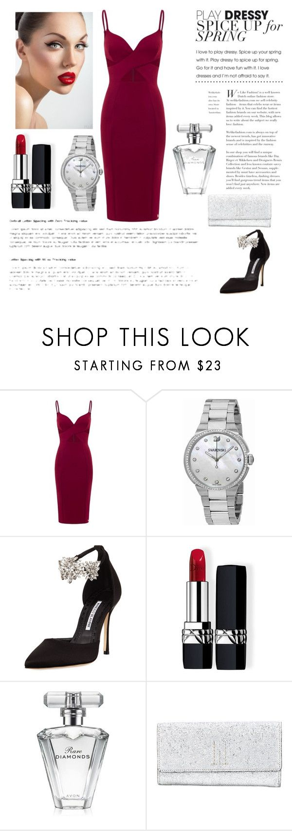 """Dress"" by anabelisstyle ❤ liked on Polyvore featuring Aloura London, Swarovski, Manolo Blahnik, Christian Dior, Avon and Golden Goose"