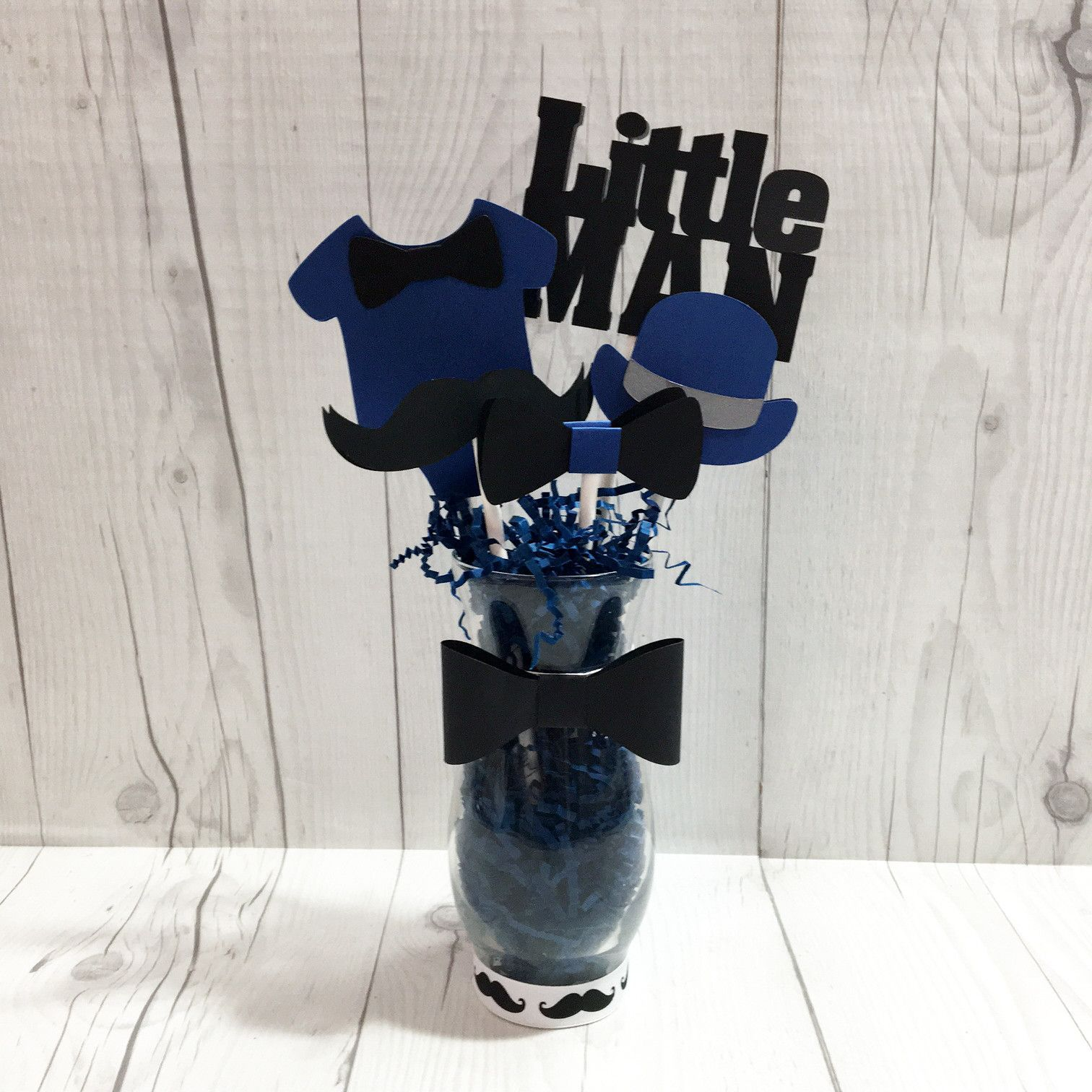Navy And Black Little Man Centerpiece Vase Babyshower Ides