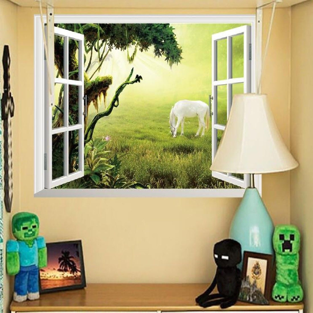 Wedding decorations home  Hot Selling Removable D Mural Wallpaper Window Grassland Horse Wall