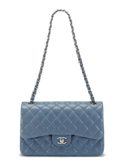 3aeb50073e98 Chanel Blue Grey Lambskin Classic Jumbo 2.55 Double Flap Bag ...