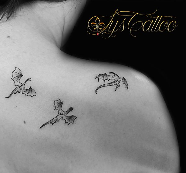 tatouage 3 minis dragons par lys tattoo à gradignan proche de