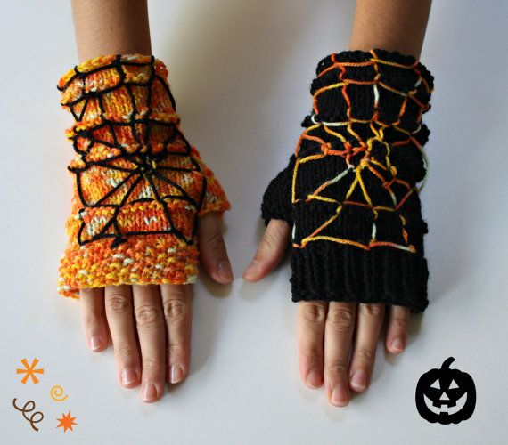 Halloween Fingerless Gloves / Orange Black