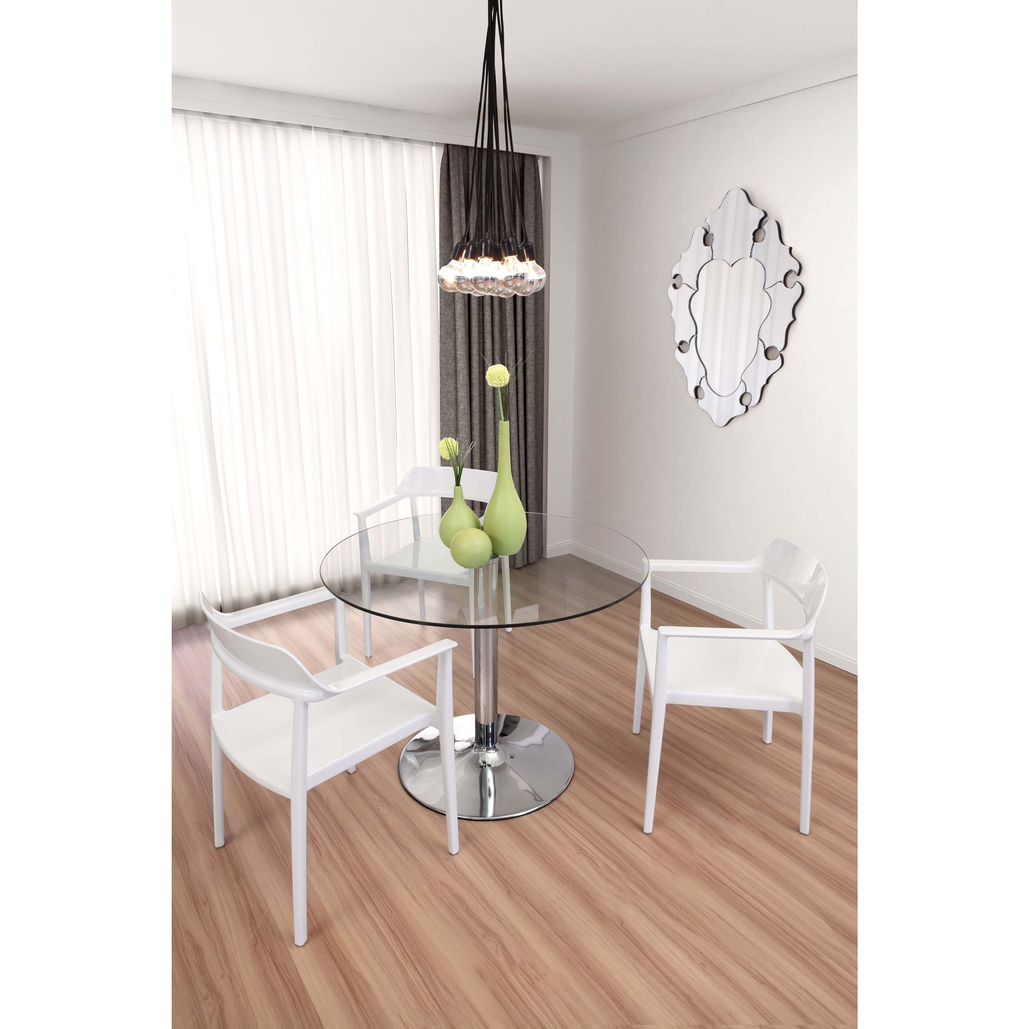Zuo Galaxy Clear Glass and Chrome Steel Dining Table by Zuo ...