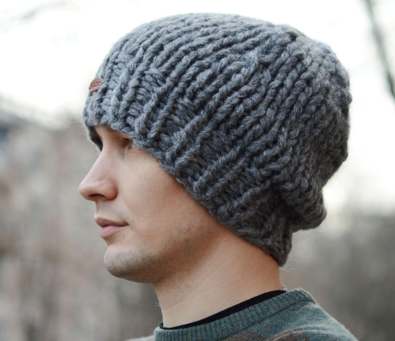 купить мужская шапка бини связанная из толстой пряжи серый шапка