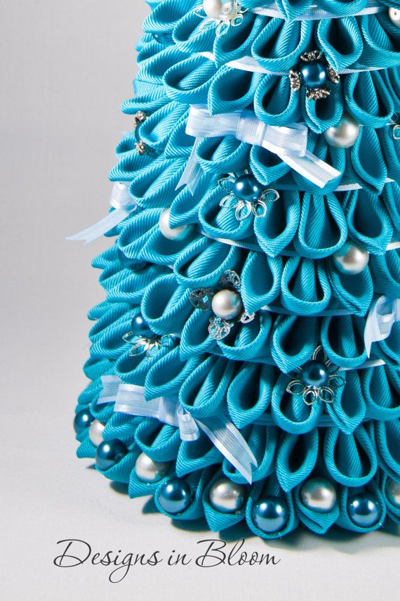 Christmas Tree Decoration, Blue Kanzashi Ornament | kanzashi ...