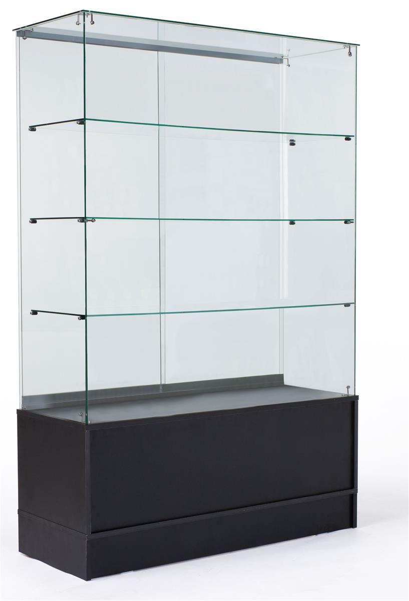 48 Glass Display Case W Sliding Doors Base Cabinets Frameless Black Glass Cabinets Display Glass Display Case Display Case