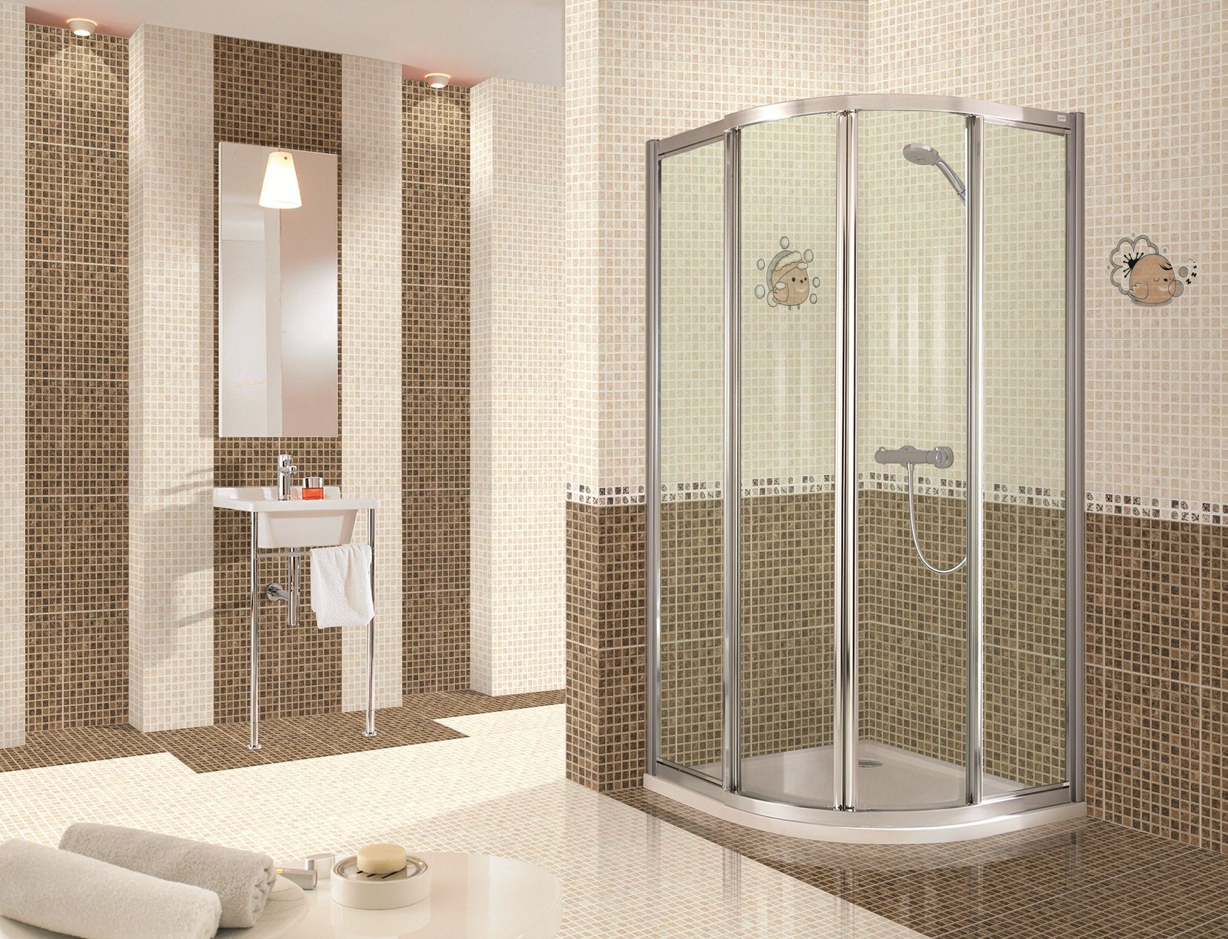Bathroom Simple Tile Wall Pattern with Transparent Glass Divider