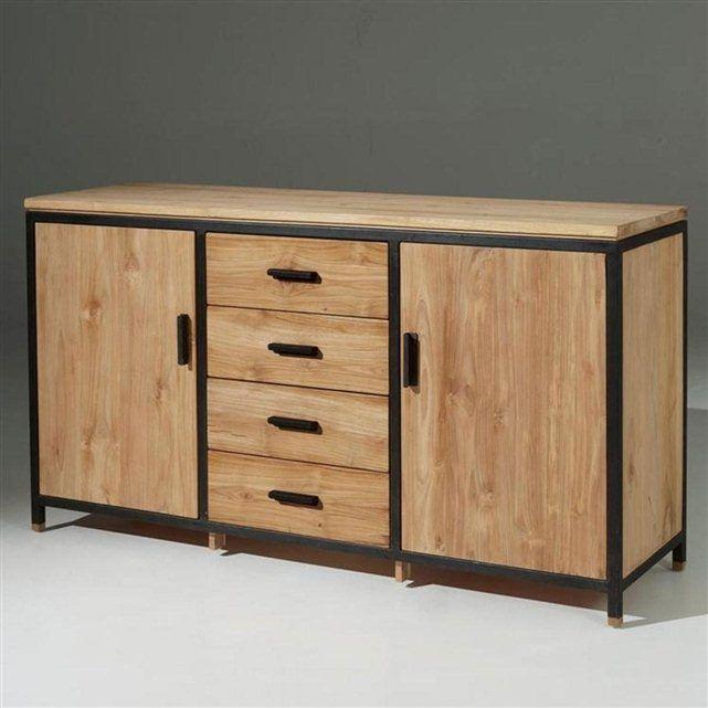 Bahut Design Lucille 2 Portes 4 Tiroirs Tiroir Bois Mobilier De Salon Meuble Bois Metal