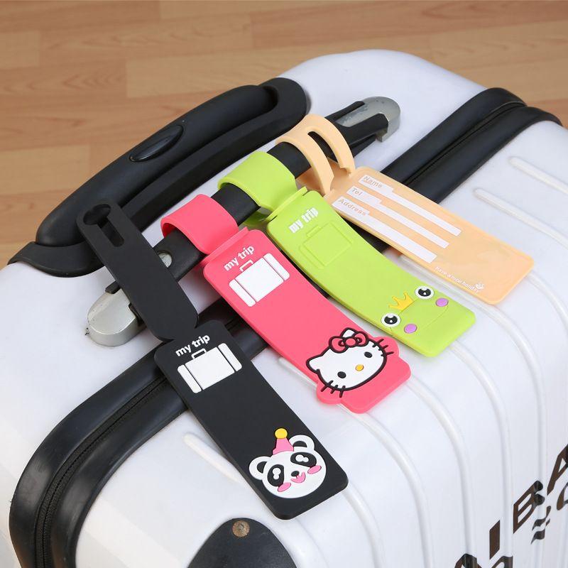 PVC Cartoon luggage tag plastic luggage tags customer choosen color bag accessory 5pcs/lot free shipping
