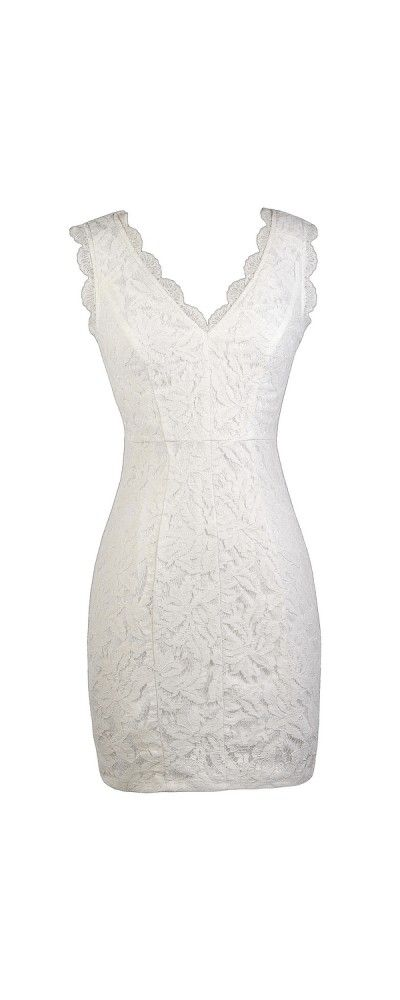 92fa54dc102ad Lily Boutique Camille Lace Pencil Dress in Off White