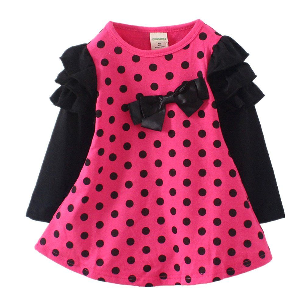 LittleSpring Little Girls' Dress Dot Size 4T(120cm) Rose-red. Size 2T(Tag 100) suggested height 80-90cm. Size 3T(Tag 110) suggested height 90-100cm. Size 4T(Tag 120) suggested height 100-110cm. Size 5T(Tag 130) suggested height 110-120cm. Size 6-7T(Tag 140) suggested height 120-130cm.