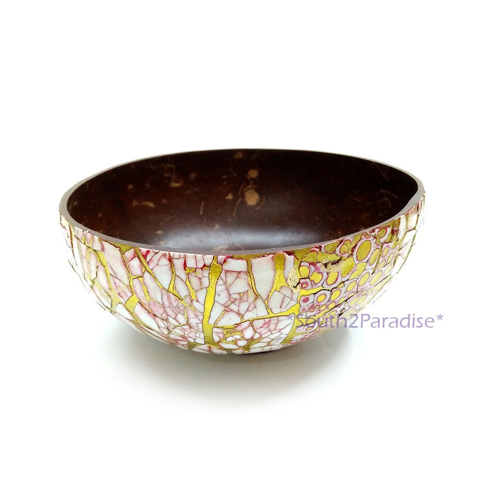 Charming Coconut Shell Eggshell Inlay Mosaic Gold Lacquer Snacks Bowl Home Made  Decor | EBay Amazing Ideas