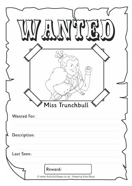 Miss Trunchbull Wanted Poster Roald Dahl Activities Chocolate