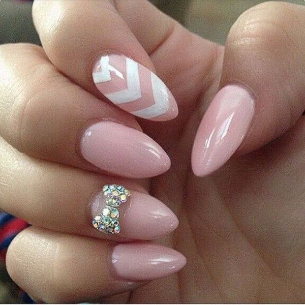 Baby Pink Almond Nails With A Studded Bow And White Chevron Lines 2016