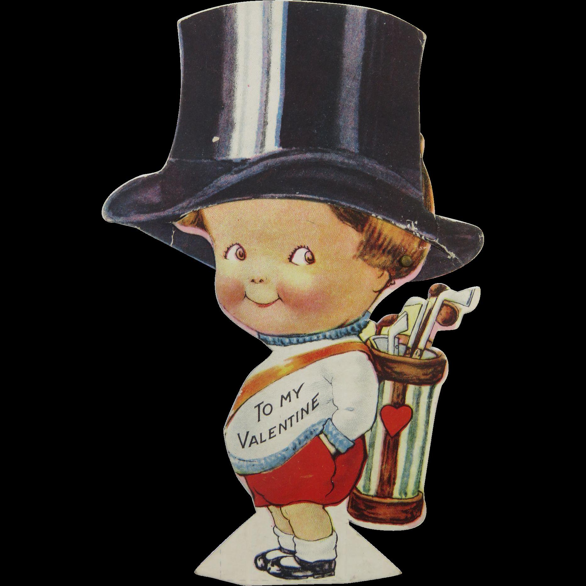 Valentine Mechanical Little Boy Tipping Hat Golf Clubs Found At Www Rubylane Com Vintagebeginshere Vintage Valentine Cards Vintage Valentines Golf Clubs