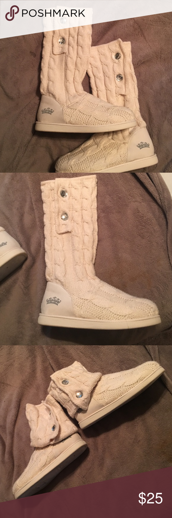 Sweater boots Very lightly worn sweater boots, can be worn sheen high or folded down to ankle boots. Juicy Couture Shoes Ankle Boots & Booties