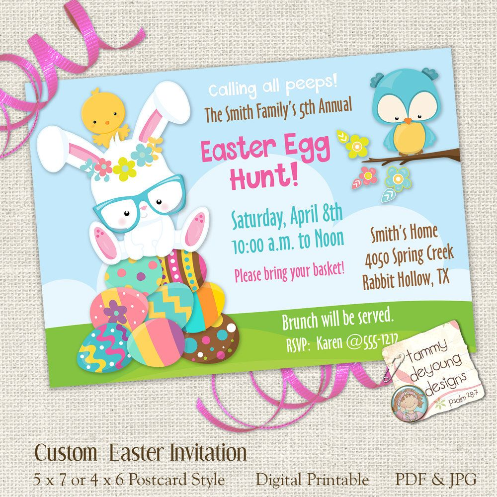 Printable Easter Egg Hunt Invitation, Easter Party for Kids, Printable Easter Invite, Easter Evite, Breakfast with Easter Bunny Party - Easter egg hunt invitation, Easter invitations, Easter egg hunt, Bunny party, Egg hunt invitation, Easter party - policy  ©2019 Tammy DeYoung Most artwork by PrettyGrafiks