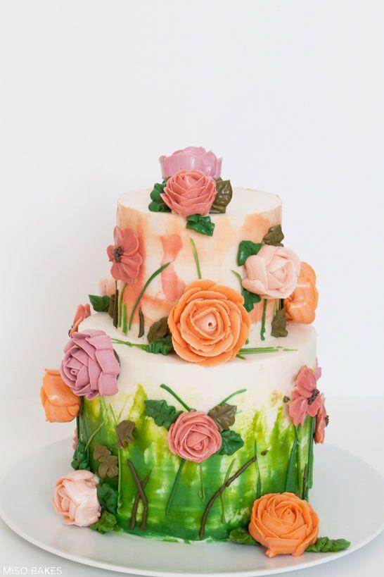 DIY Watercolor Cake Tutorial by Miso Bakes   TheCakeBlog.com