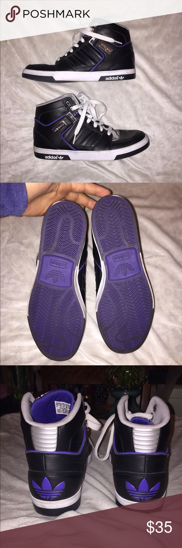 High top Adidas. Male adidas. Wore maybe 5times. no rips. No stains Adidas Shoes Sneakers
