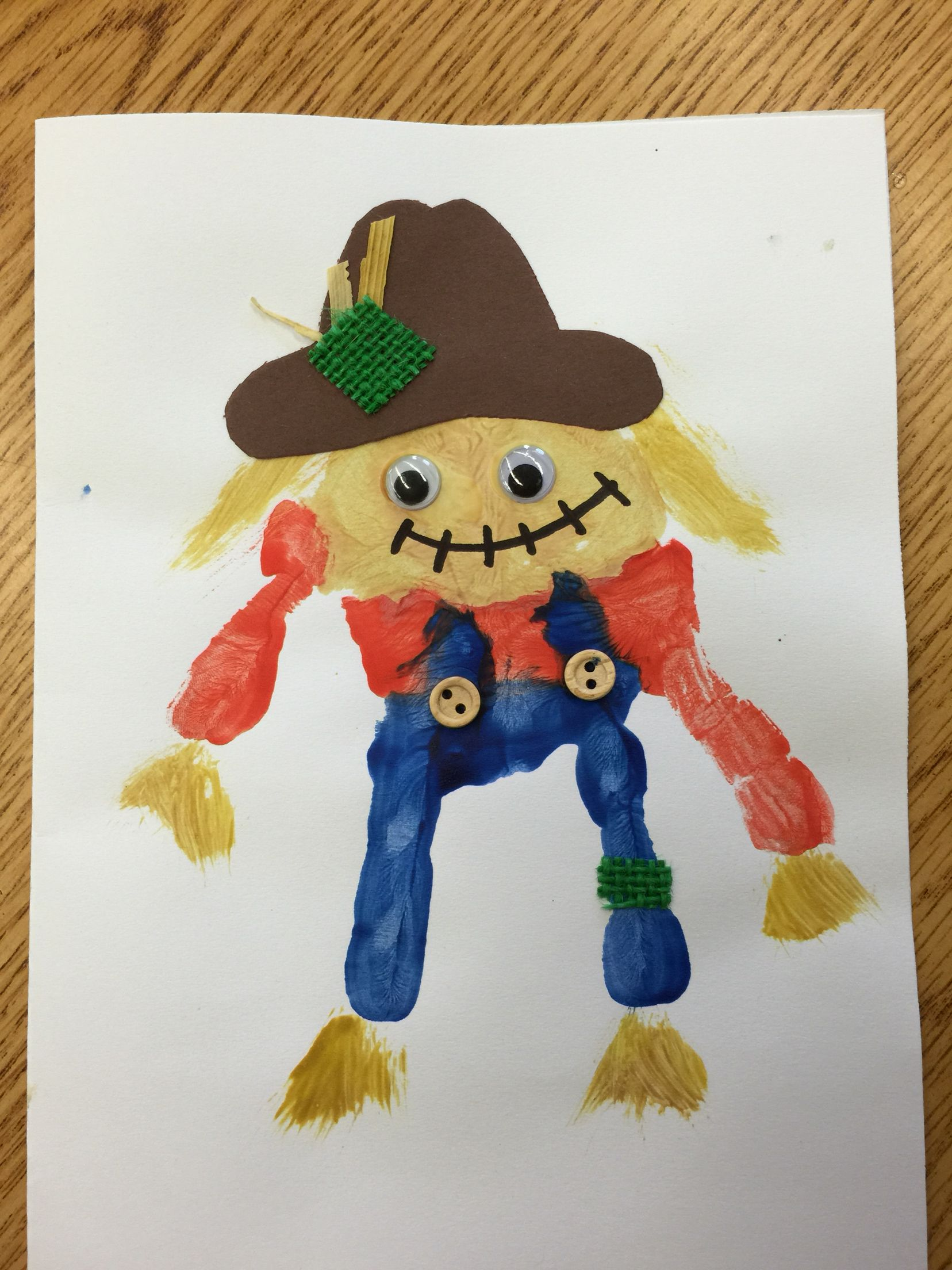Scarecrow Handprint Craft For Preschool Or Kindergarten Fall Craft Thanksgiving Harvest