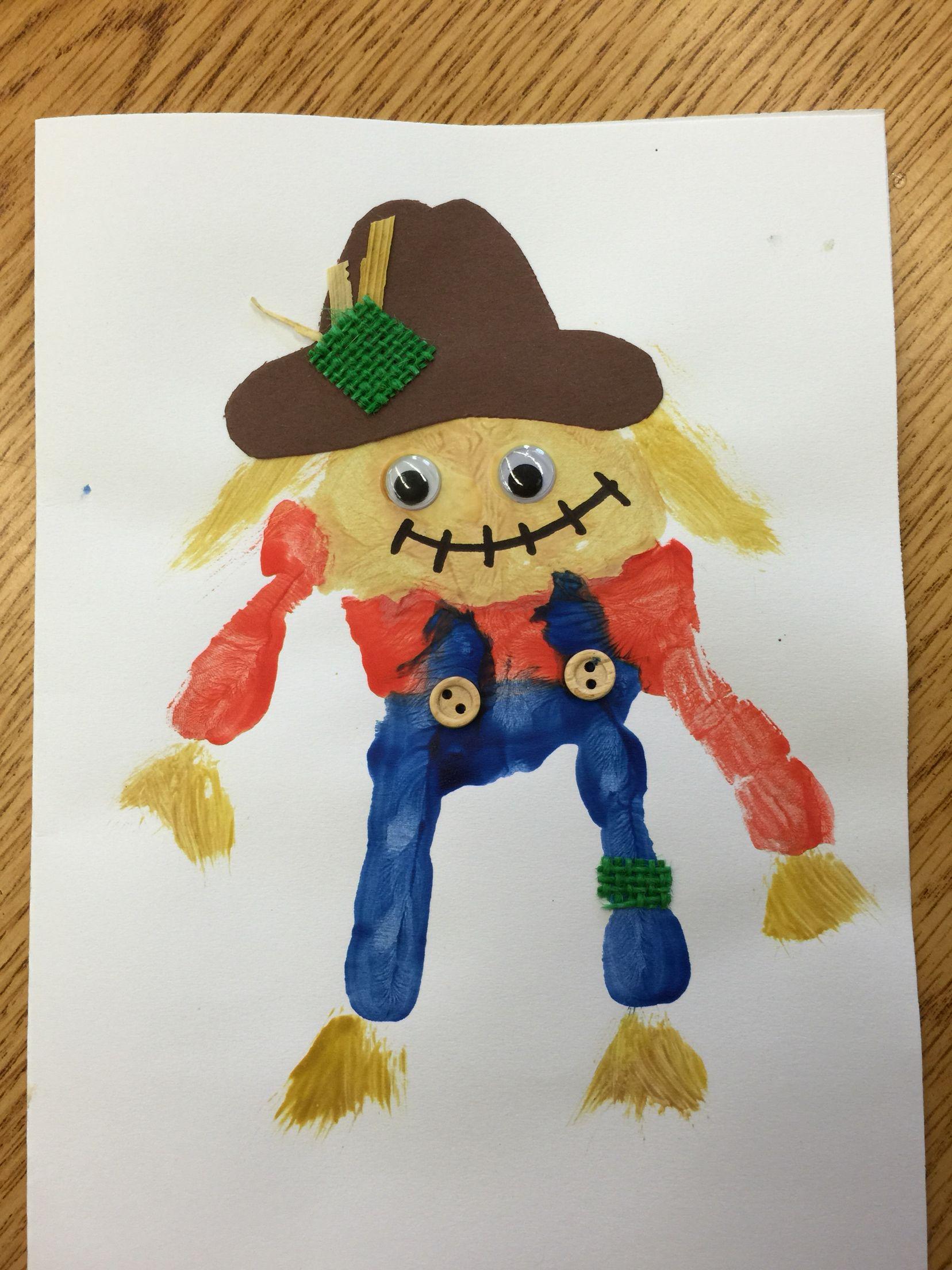 Scarecrow Handprint Craft For Preschool Or Kindergarten Fall Craft Thanksgiving Harvest