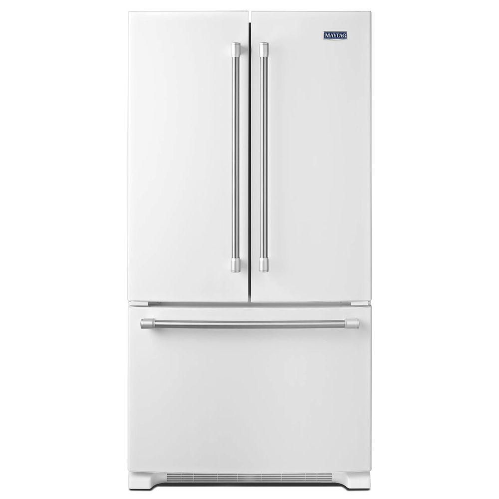 Maytag 252 Cu Ft French Door Refrigerator In White With Stainless
