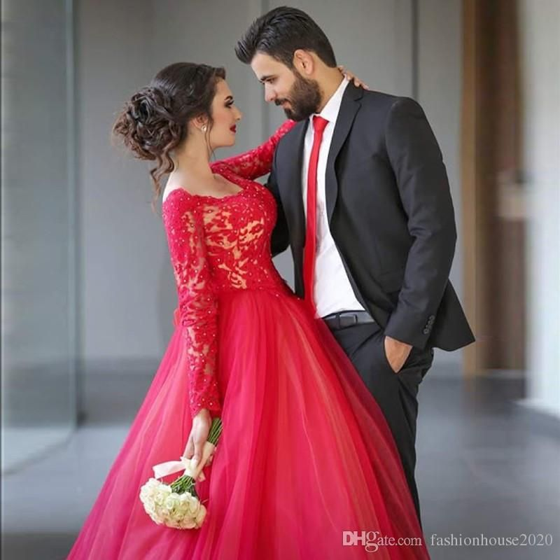 Arabic Style Lace Long Sleeve Prom Dresses Red Scoop Neck Applique ...