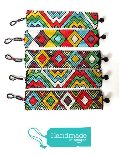 African Zulu beaded flat bracelet large - Multicolour from Gone ...