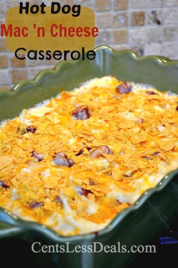 Hot Dog Mac 'n Cheese Casserole recipe, a grown up version!! YUMMY! One of my favorite casserole