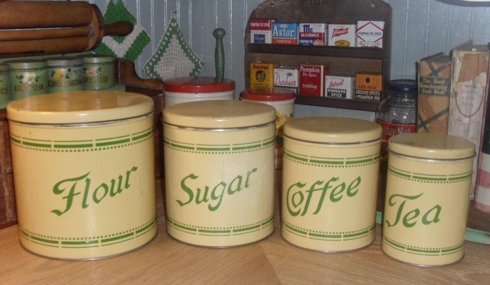Cream green canister set vintage kitchen pinterest for Cream kitchen set