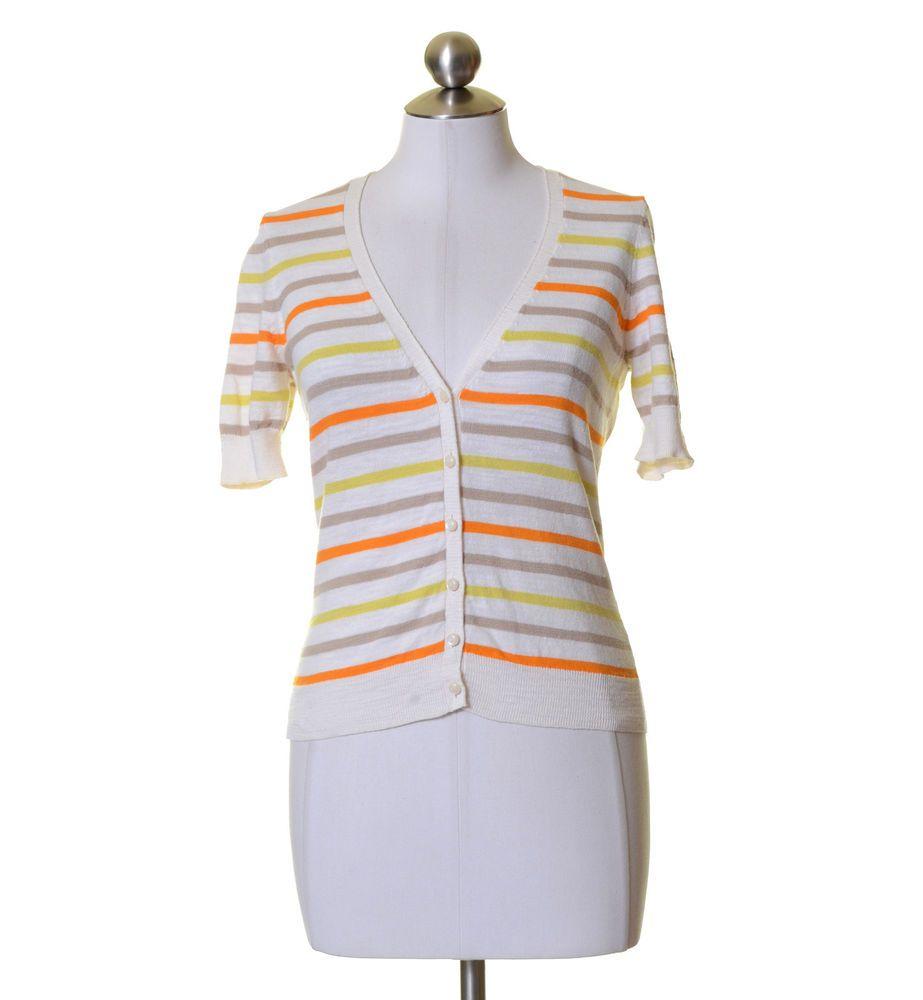 Caslon White Orange Yellow Gray Striped Cotton Light Knit Short ...
