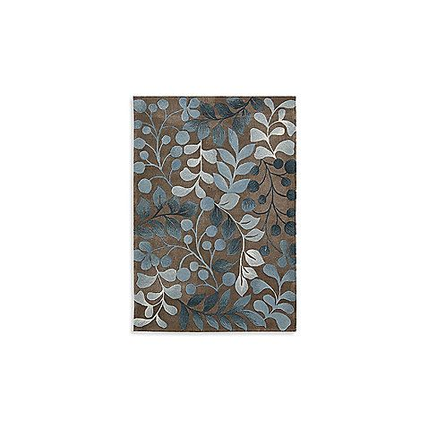 Nourison Contours Mocha and Blue Botanical Rectangle Rug - 8-Foot x 10-Foot 6-Inch