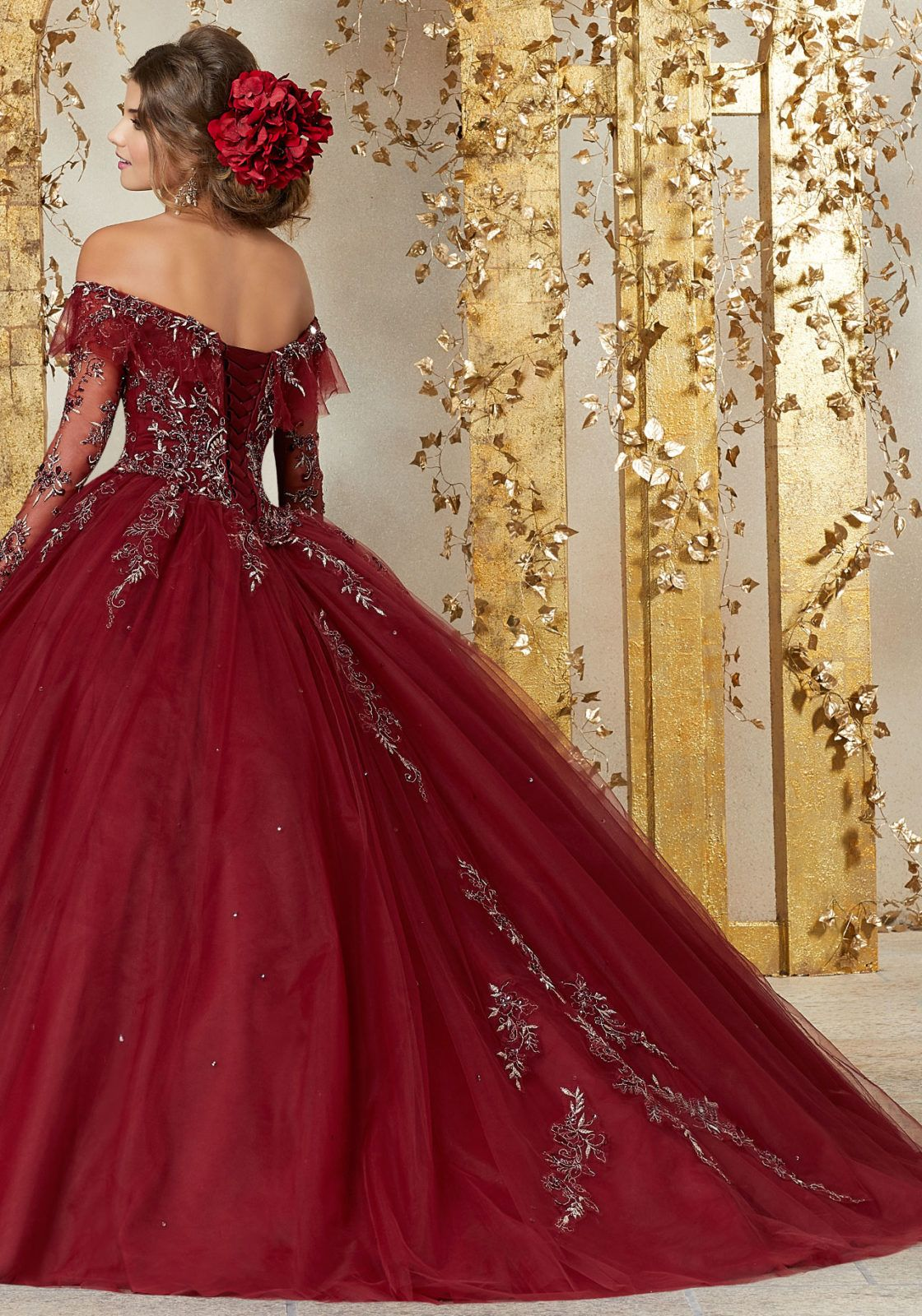 Style 89235 Dramatic And Elegant This Stunning Long Sleeve Quinceanera Dress Long Sleeve Quinceanera Dresses Burgundy Quinceanera Dresses Red Wedding Dresses